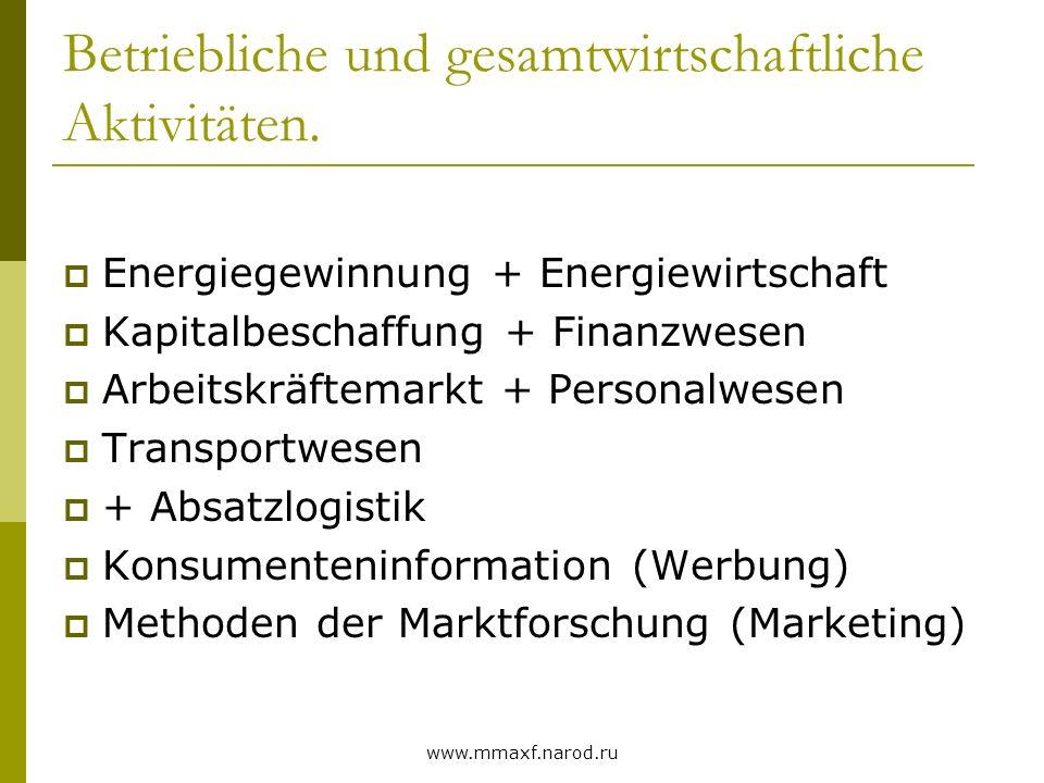 www.mmaxf.narod.ru Eingriffe des Staates Staat (Ordnungsfunktion) Markt- sicherung Rechtliche Basis des Wettbewerbs Markt- beeinflussung (z.