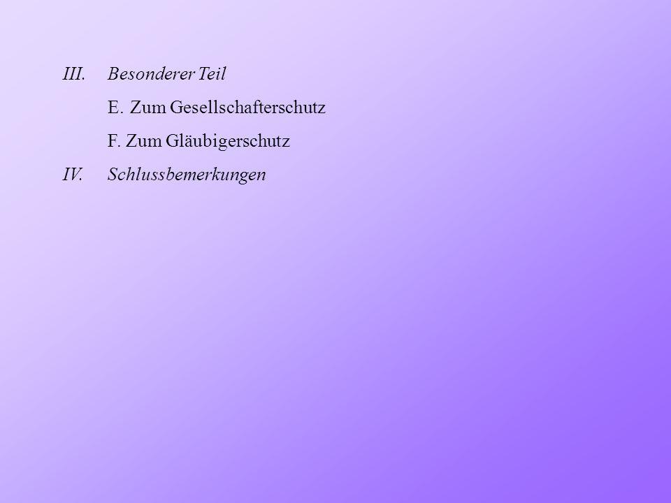 III.Besonderer Teil F.Zum Gläubigerschutz b) Gesellschafterhaftung: Fusion: Art.