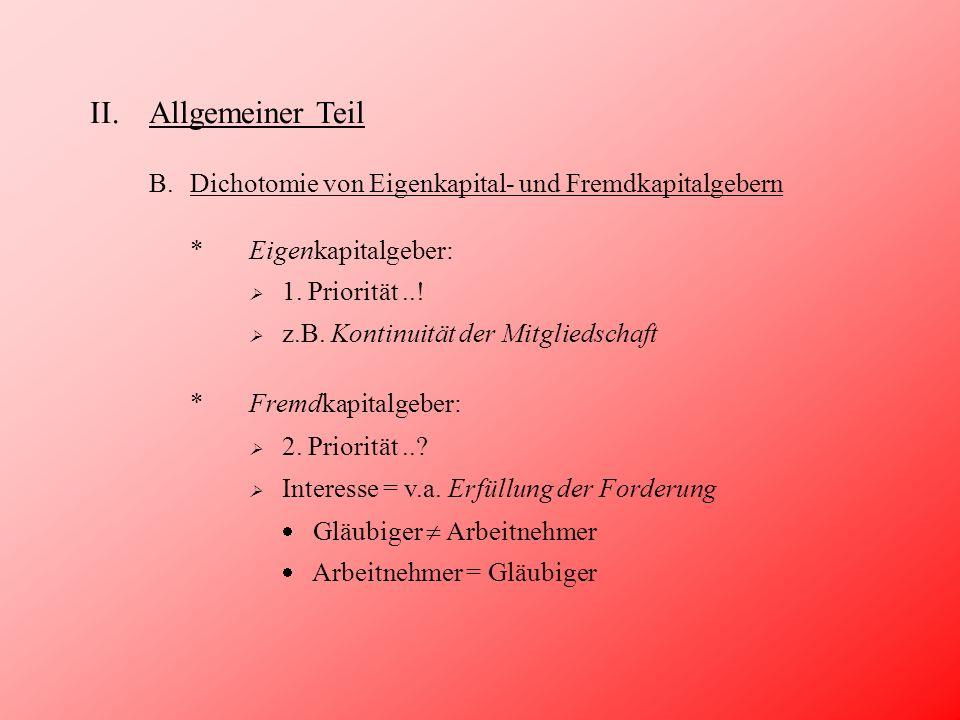 II.Allgemeiner Teil B.Dichotomie von Eigenkapital- und Fremdkapitalgebern Art.