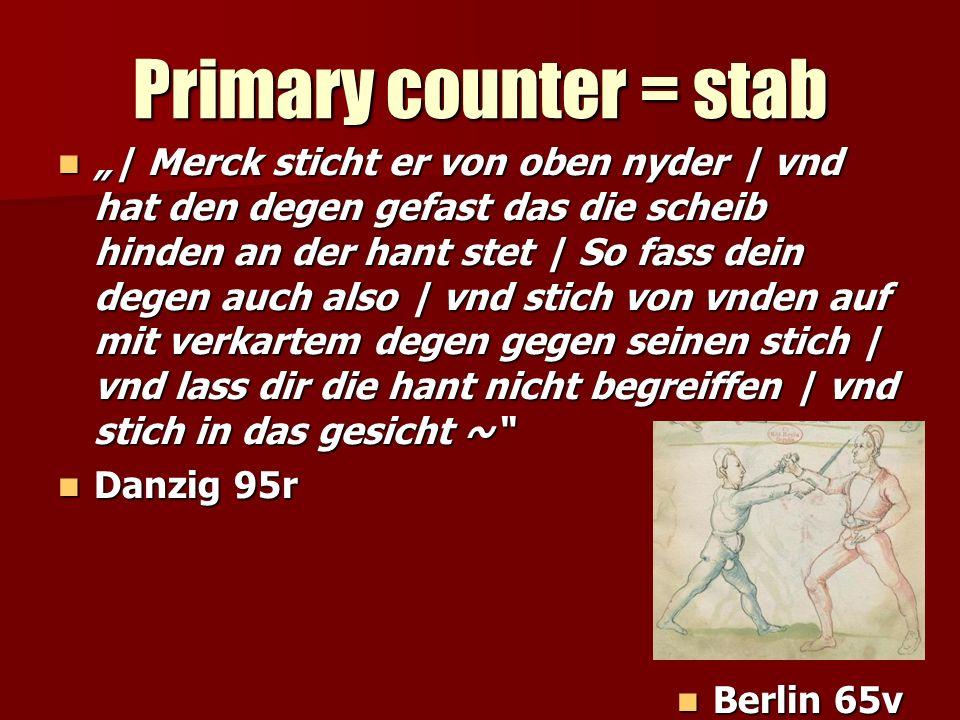 Primary counter = stab | Merck sticht er von oben nyder | vnd hat den degen gefast das die scheib hinden an der hant stet | So fass dein degen auch al