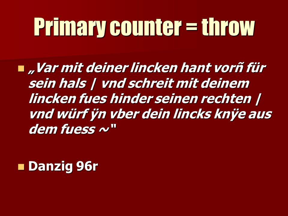 Primary counter = throw Var mit deiner lincken hant vorñ für sein hals | vnd schreit mit deinem lincken fues hinder seinen rechten | vnd würf ÿn vber dein lincks knÿe aus dem fuess ~ Var mit deiner lincken hant vorñ für sein hals | vnd schreit mit deinem lincken fues hinder seinen rechten | vnd würf ÿn vber dein lincks knÿe aus dem fuess ~ Danzig 96r Danzig 96r