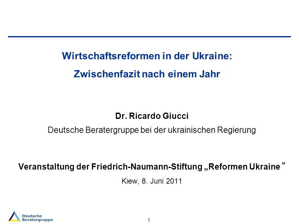 1 Wirtschaftsreformen in der Ukraine: Zwischenfazit nach einem Jahr Dr.