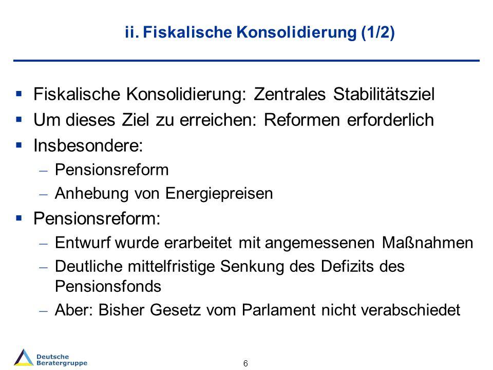 ii. Fiskalische Konsolidierung (1/2) Fiskalische Konsolidierung: Zentrales Stabilitätsziel Um dieses Ziel zu erreichen: Reformen erforderlich Insbeson