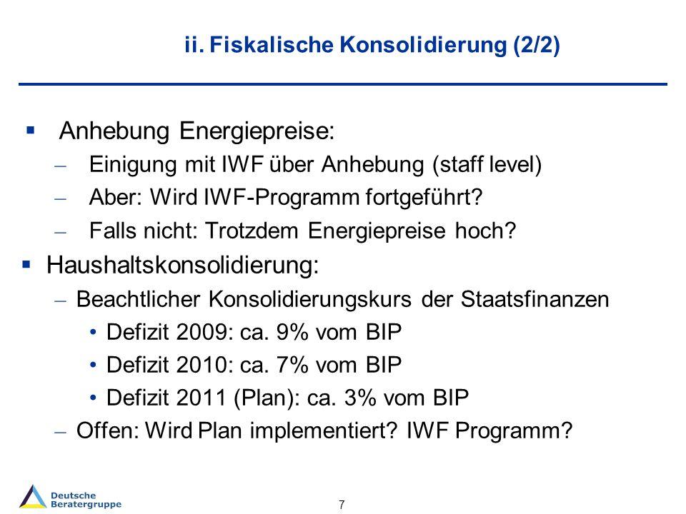 ii. Fiskalische Konsolidierung (2/2) Anhebung Energiepreise: – Einigung mit IWF über Anhebung (staff level) – Aber: Wird IWF-Programm fortgeführt? – F