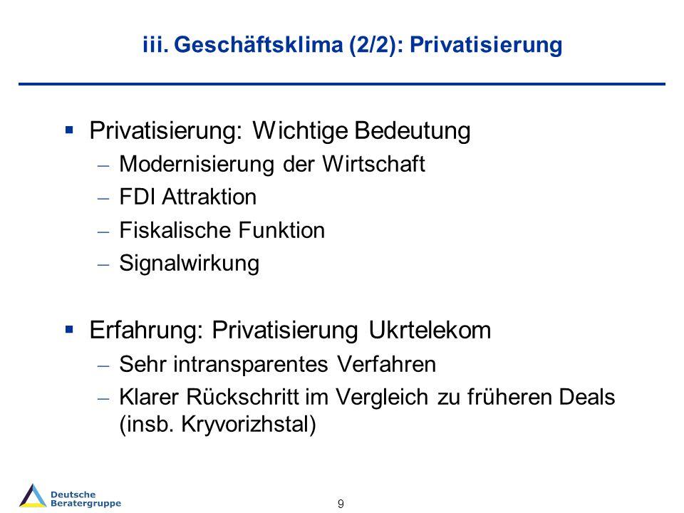 iii. Geschäftsklima (2/2): Privatisierung Privatisierung: Wichtige Bedeutung – Modernisierung der Wirtschaft – FDI Attraktion – Fiskalische Funktion –