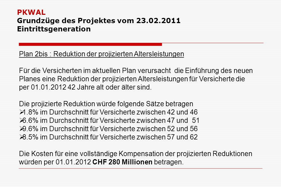 PKWAL Grundzüge des Projektes vom 23.02.2011 Eintrittsgeneration Plan 2bis : Reduktion der projizierten Altersleistungen Für die Versicherten im aktuellen Plan verursacht die Einführung des neuen Planes eine Reduktion der projizierten Altersleistungen für Versicherte die per 01.01.2012 42 Jahre alt oder älter sind.