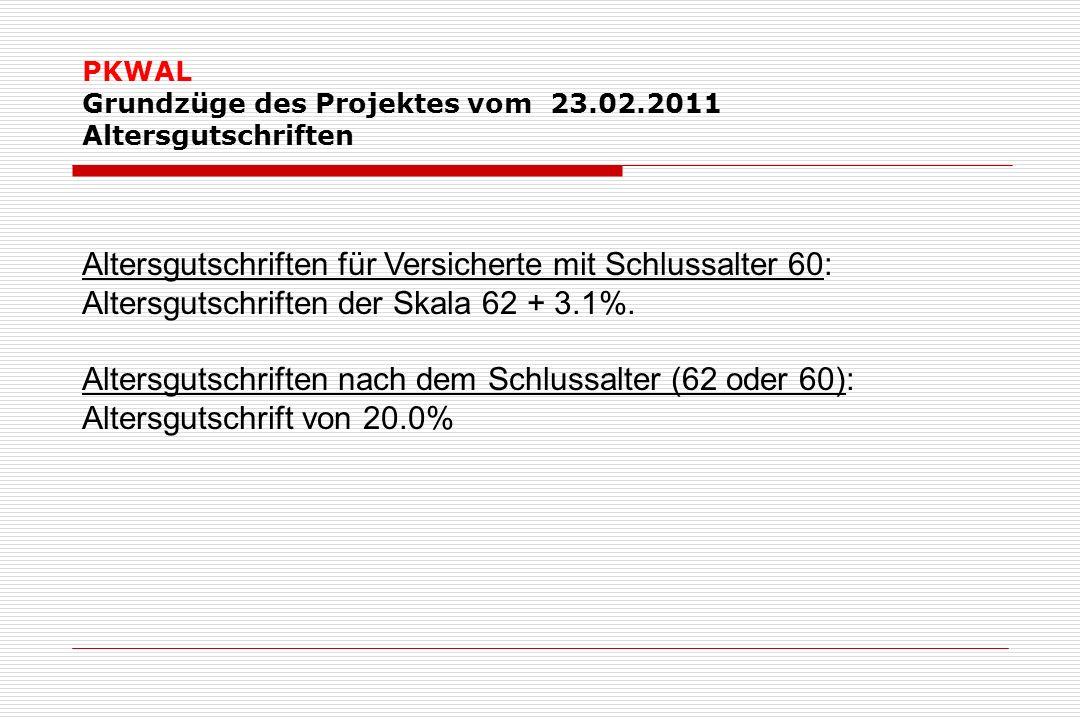 PKWAL Grundzüge des Projektes vom 23.02.2011 Altersgutschriften Altersgutschriften für Versicherte mit Schlussalter 60: Altersgutschriften der Skala 62 + 3.1%.