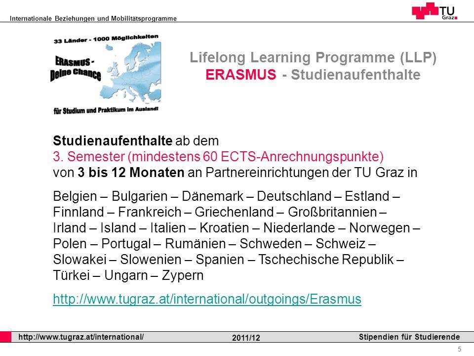 Internationale Beziehungen und Mobilitätsprogramme Professor Horst Cerjak, 19.12.2005 6 http://www.tugraz.at/international/ 2011/12 Stipendien für Studierende Lifelong Learning Programme (LLP) ERASMUS – Studierendenpraktika Auslandspraktika ab dem 1.