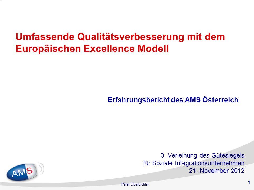 1 Peter Oberbichler Umfassende Qualitätsverbesserung mit dem Europäischen Excellence Modell Erfahrungsbericht des AMS Österreich 3. Verleihung des Güt