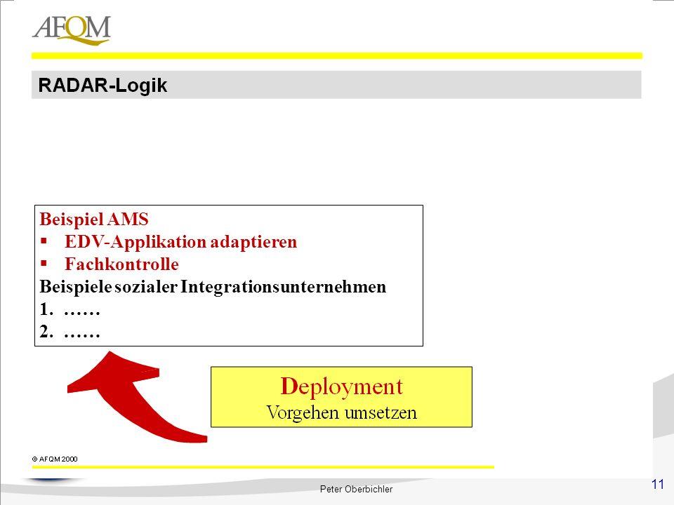 11 Peter Oberbichler Beispiel AMS EDV-Applikation adaptieren Fachkontrolle Beispiele sozialer Integrationsunternehmen 1.…… 2.……