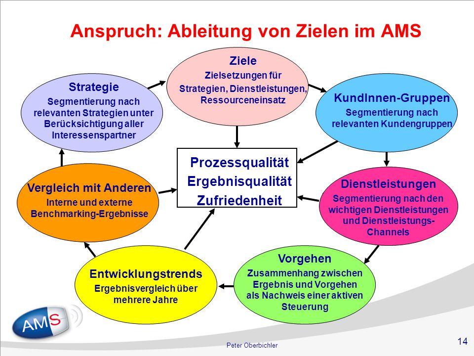 14 Peter Oberbichler Anspruch: Ableitung von Zielen im AMS KundInnen-Gruppen Segmentierung nach relevanten Kundengruppen Dienstleistungen Segmentierun