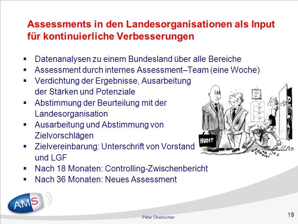 19 Peter Oberbichler Assessments in den Landesorganisationen als Input für kontinuierliche Verbesserungen Datenanalysen zu einem Bundesland über alle