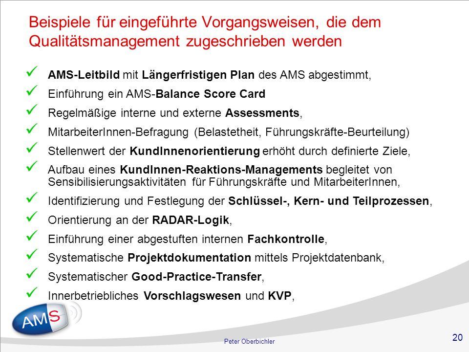 20 Peter Oberbichler Beispiele für eingeführte Vorgangsweisen, die dem Qualitätsmanagement zugeschrieben werden AMS-Leitbild mit Längerfristigen Plan