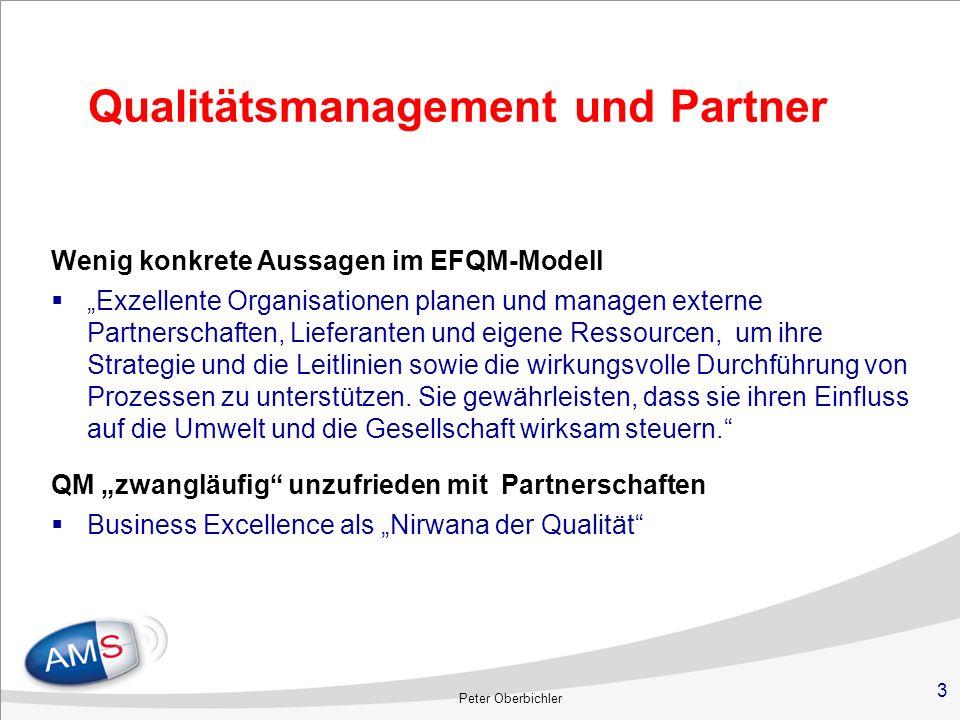 3 Qualitätsmanagement und Partner Wenig konkrete Aussagen im EFQM-Modell Exzellente Organisationen planen und managen externe Partnerschaften, Liefera