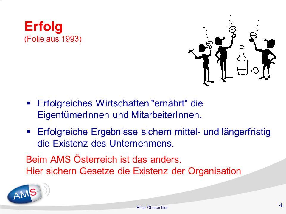 4 Erfolg (Folie aus 1993) Beim AMS Österreich ist das anders. Hier sichern Gesetze die Existenz der Organisation Erfolgreiches Wirtschaften