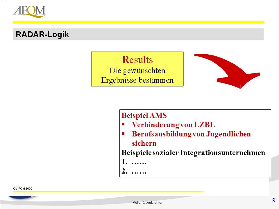 9 Peter Oberbichler Beispiel AMS Verhinderung von LZBL Berufsausbildung von Jugendlichen sichern Beispiele sozialer Integrationsunternehmen 1.…… 2.……