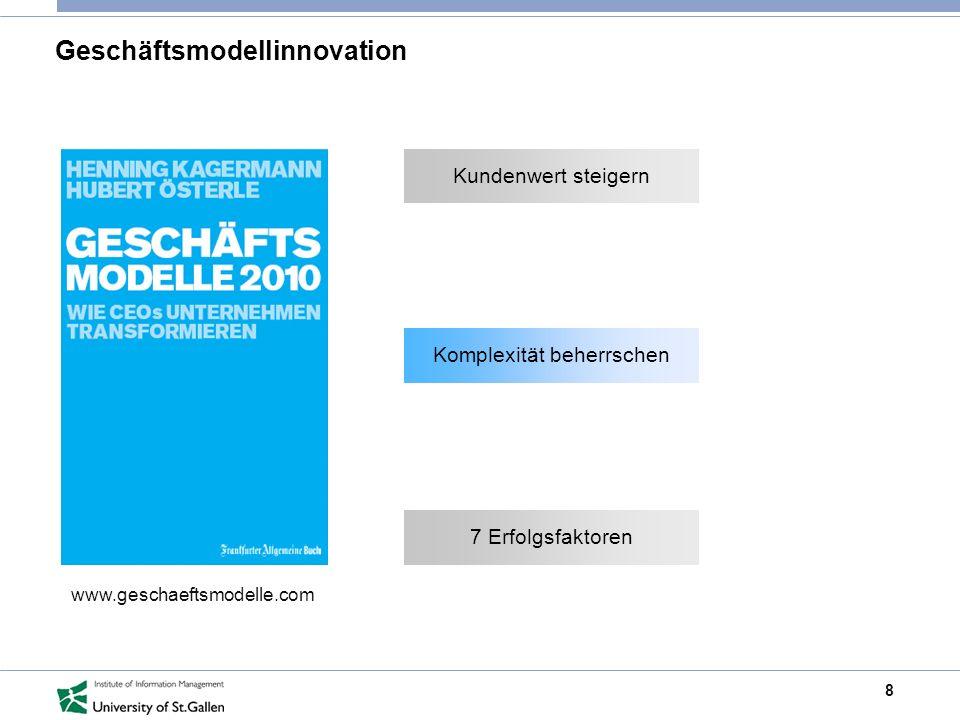 8 Geschäftsmodellinnovation www.geschaeftsmodelle.com Kundenwert steigern Komplexität beherrschen 7 Erfolgsfaktoren