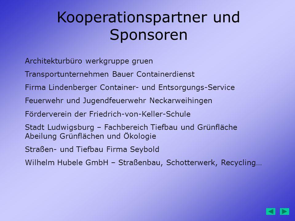 Kooperationspartner und Sponsoren Architekturbüro werkgruppe gruen Transportunternehmen Bauer Containerdienst Firma Lindenberger Container- und Entsor