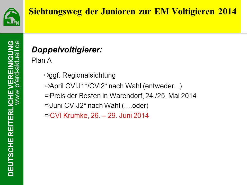 www.pferd-aktuell.de DEUTSCHE REITERLICHE VEREINIGUNG Sichtungsweg der Junioren zur EM Voltigieren 2014 Doppelvoltigierer: Plan A ggf. Regionalsichtun