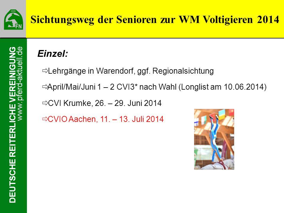 www.pferd-aktuell.de DEUTSCHE REITERLICHE VEREINIGUNG Einzel: Lehrgänge in Warendorf, ggf. Regionalsichtung April/Mai/Juni 1 – 2 CVI3* nach Wahl (Long