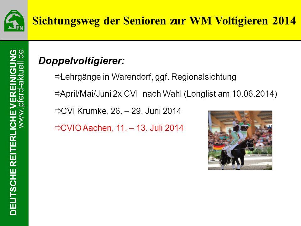 www.pferd-aktuell.de DEUTSCHE REITERLICHE VEREINIGUNG Sichtungsweg der Senioren zur WM Voltigieren 2014 Doppelvoltigierer: Lehrgänge in Warendorf, ggf