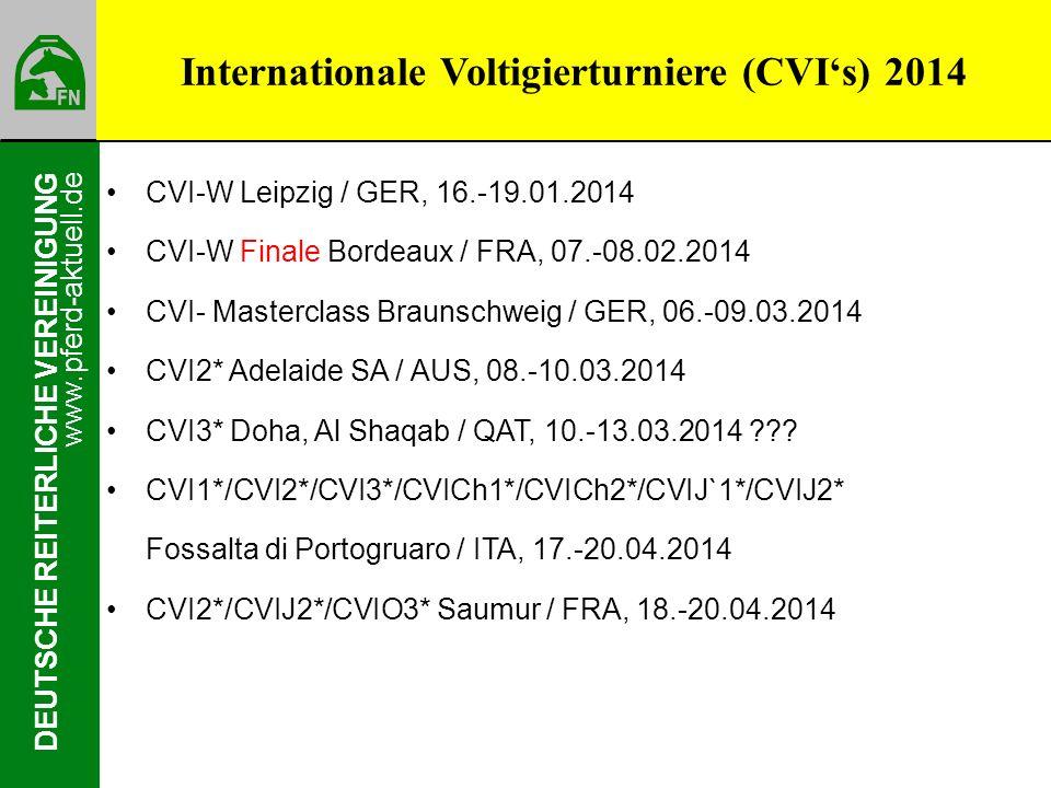 www.pferd-aktuell.de DEUTSCHE REITERLICHE VEREINIGUNG CVI-W Leipzig / GER, 16.-19.01.2014 CVI-W Finale Bordeaux / FRA, 07.-08.02.2014 CVI- Masterclass