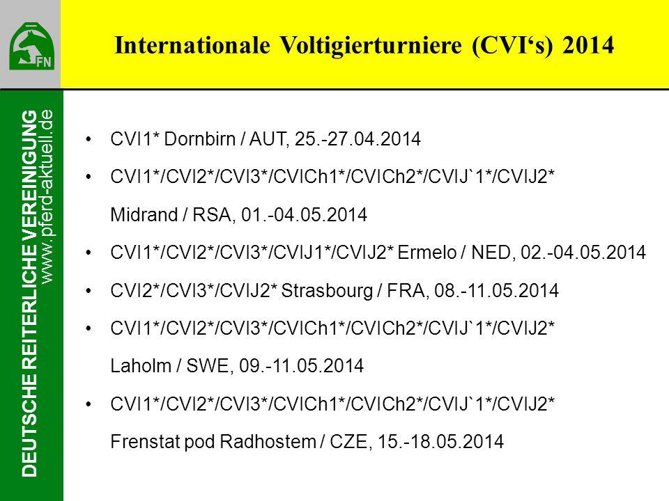 www.pferd-aktuell.de DEUTSCHE REITERLICHE VEREINIGUNG Internationale Voltigierturniere (CVIs) 2014 CVI1* Dornbirn / AUT, 25.-27.04.2014 CVI1*/CVI2*/CV