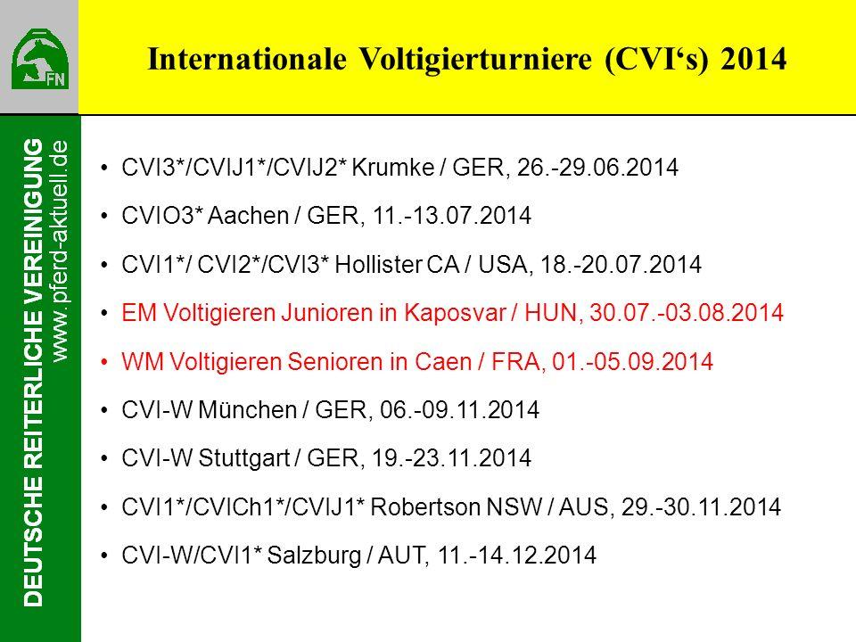 Internationale Voltigierturniere (CVIs) 2013 CVI3*/CVIJ1*/CVIJ2* Krumke / GER, 26.-29.06.2014 CVIO3* Aachen / GER, 11.-13.07.2014 CVI1*/ CVI2*/CVI3* Hollister CA / USA, 18.-20.07.2014 EM Voltigieren Junioren in Kaposvar / HUN, 30.07.-03.08.2014 WM Voltigieren Senioren in Caen / FRA, 01.-05.09.2014 CVI-W München / GER, 06.-09.11.2014 CVI-W Stuttgart / GER, 19.-23.11.2014 CVI1*/CVICh1*/CVIJ1* Robertson NSW / AUS, 29.-30.11.2014 CVI-W/CVI1* Salzburg / AUT, 11.-14.12.2014 Internationale Voltigierturniere (CVIs) 2014