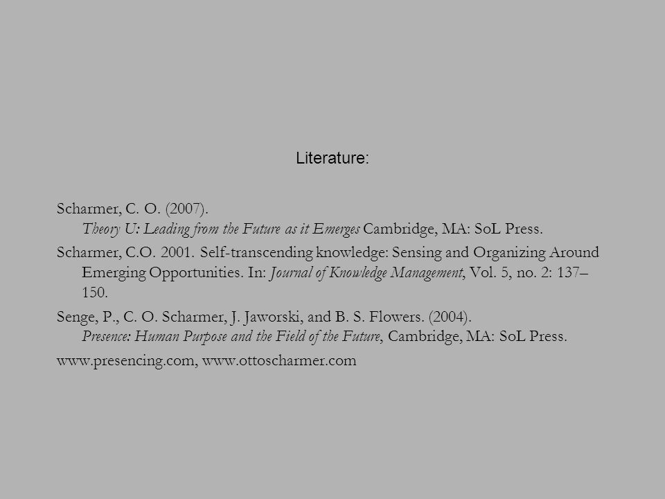 Literature: Scharmer, C. O. (2007). Theory U: Leading from the Future as it Emerges Cambridge, MA: SoL Press. Scharmer, C.O. 2001. Self-transcending k