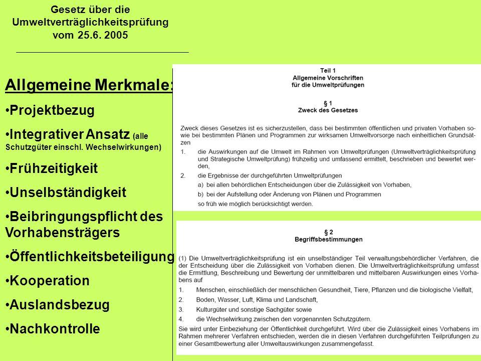 Gesetz über die Umweltverträglichkeitsprüfung vom 25.6. 2005 Allgemeine Merkmale: Projektbezug Integrativer Ansatz (alle Schutzgüter einschl. Wechselw
