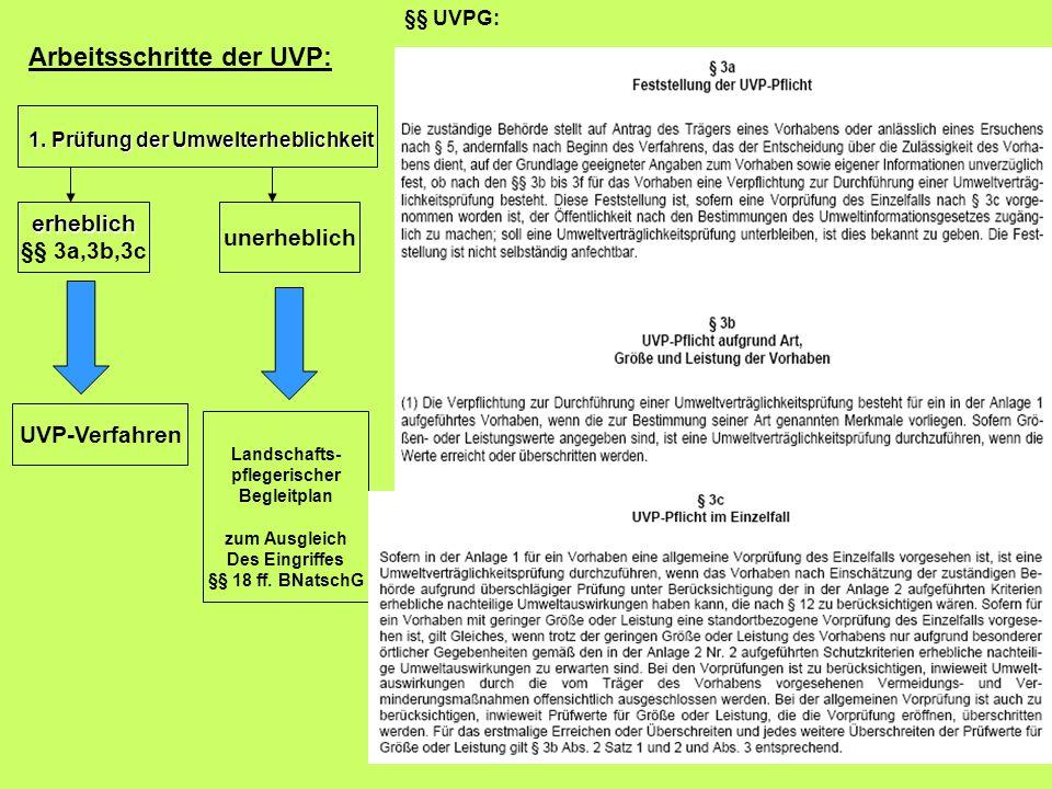 Arbeitsschritte der UVP: 1. Prüfung der Umwelterheblichkeit erheblich §§ 3a,3b,3c unerheblich UVP-Verfahren Landschafts- pflegerischer Begleitplan zum