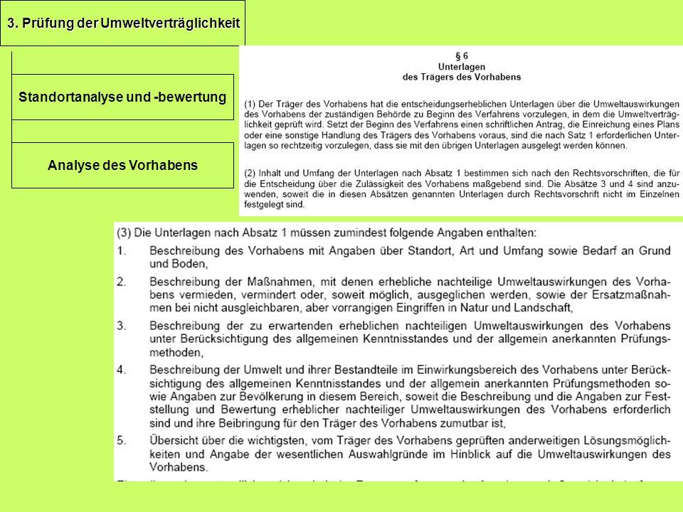 3. Prüfung der Umweltverträglichkeit Standortanalyse und -bewertung Analyse des Vorhabens