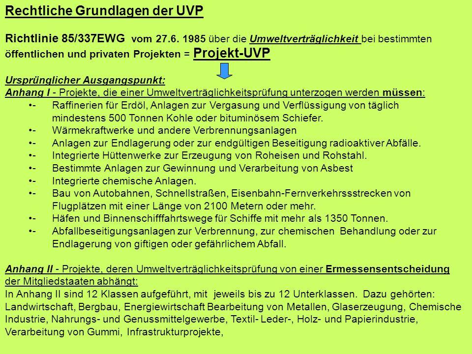 Rechtliche Grundlagen der UVP Richtlinie 85/337EWG vom 27.6. 1985 über die Umweltverträglichkeit bei bestimmten öffentlichen und privaten Projekten =