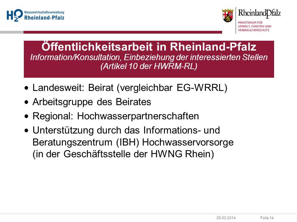 Folie 1429.03.2014 Landesweit: Beirat (vergleichbar EG-WRRL) Arbeitsgruppe des Beirates Regional: Hochwasserpartnerschaften Unterstützung durch das In