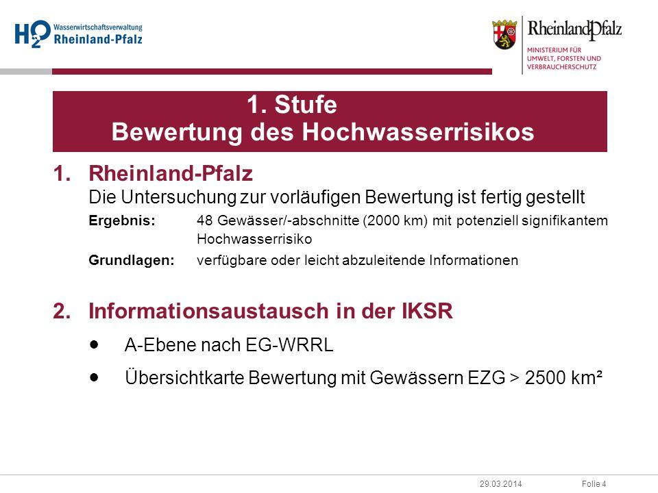Folie 429.03.2014 1. Stufe Bewertung des Hochwasserrisikos 1.Rheinland-Pfalz Die Untersuchung zur vorläufigen Bewertung ist fertig gestellt Ergebnis:4