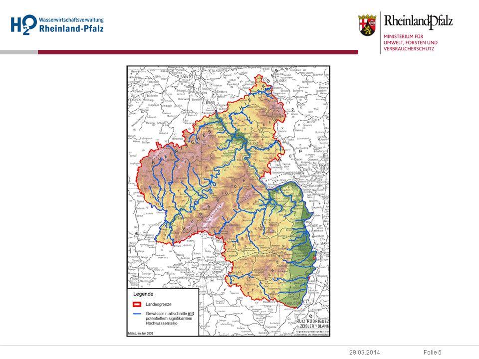 Folie 629.03.2014 1.Rhein Überarbeitung des Rheinatlas 2001 der IKSR www.iksr.org/rheinatlas/atlas/map_overview.pdf Szenarienabstimmung in IKSR-AG HW: HQ-Extrem, HQ-100, HQ-10 RP: Überarbeitung bis Ende 2009, abgstimmt in DK-AG HW 2.Rheinland-Pfalz Gefahrenatlas Mosel(www.gefahrenatlas-mosel.de) Karten: Ergebnis TIMIS(www.geoportal-wasser.rlp.de) 2.