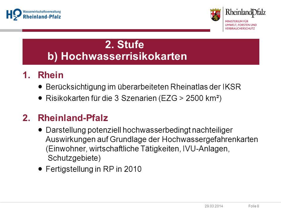 Folie 829.03.2014 1.Rhein Berücksichtigung im überarbeiteten Rheinatlas der IKSR Risikokarten für die 3 Szenarien (EZG > 2500 km²) 2.Rheinland-Pfalz Darstellung potenziell hochwasserbedingt nachteiliger Auswirkungen auf Grundlage der Hochwassergefahrenkarten (Einwohner, wirtschaftliche Tätigkeiten, IVU-Anlagen, Schutzgebiete) Fertigstellung in RP in 2010 2.