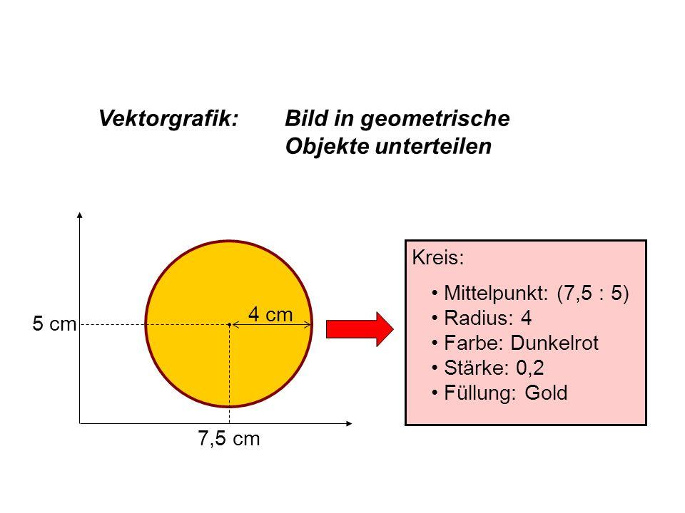 7,5 cm 5 cm 4 cm Kreis: Mittelpunkt: (7,5 : 5) Radius: 4 Farbe: Dunkelrot Stärke: 0,2 Füllung: Gold Vektorgrafik:Bild in geometrische Objekte untertei