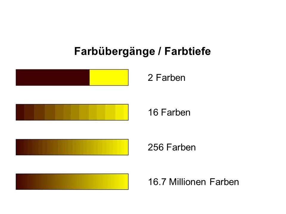 Farbübergänge / Farbtiefe 2 Farben16 Farben 256 Farben 16.7 Millionen Farben