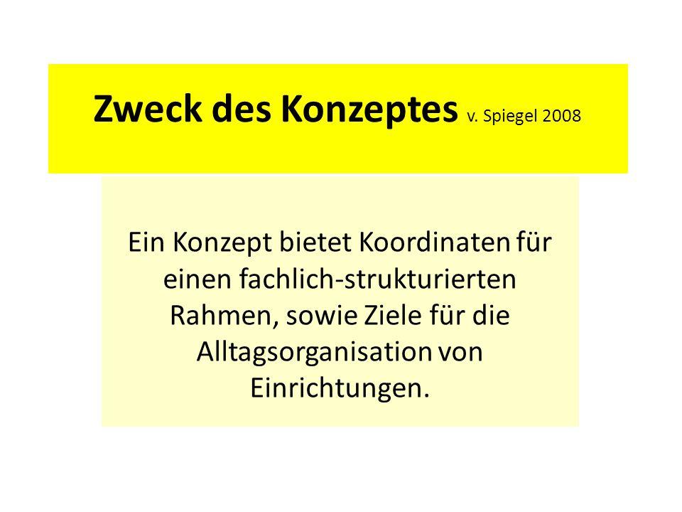 Zweck des Konzeptes v. Spiegel 2008 Ein Konzept bietet Koordinaten für einen fachlich-strukturierten Rahmen, sowie Ziele für die Alltagsorganisation v