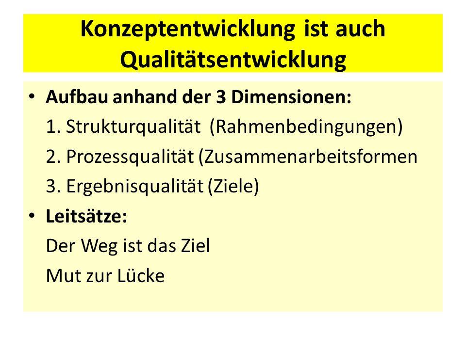 Konzeptentwicklung ist auch Qualitätsentwicklung Aufbau anhand der 3 Dimensionen: 1. Strukturqualität (Rahmenbedingungen) 2. Prozessqualität (Zusammen