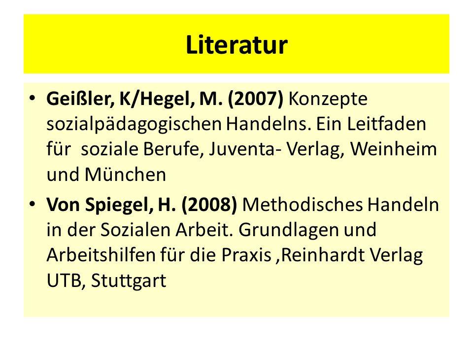Literatur Geißler, K/Hegel, M. (2007) Konzepte sozialpädagogischen Handelns. Ein Leitfaden für soziale Berufe, Juventa- Verlag, Weinheim und München V