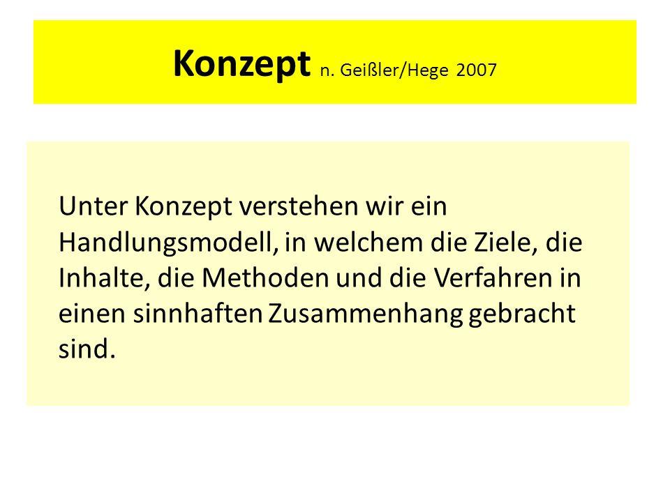 Konzept n. Geißler/Hege 2007 Unter Konzept verstehen wir ein Handlungsmodell, in welchem die Ziele, die Inhalte, die Methoden und die Verfahren in ein