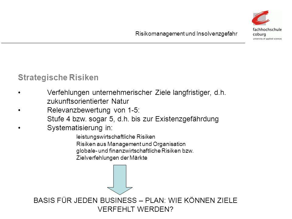 Strategische Risiken Risikomanagement und Insolvenzgefahr Verfehlungen unternehmerischer Ziele langfristiger, d.h. zukunftsorientierter Natur Relevanz