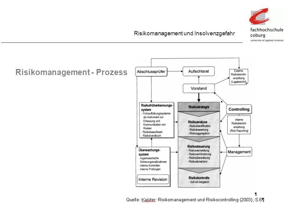 Risikomanagement und Insolvenzgefahr Risikomanagement - Prozess