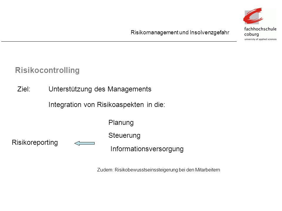 Risikomanagement und Insolvenzgefahr Risikocontrolling Ziel:Unterstützung des Managements Integration von Risikoaspekten in die: Planung Steuerung Inf