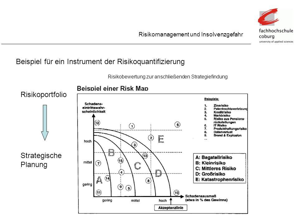 Beispiel für ein Instrument der Risikoquantifizierung Risikomanagement und Insolvenzgefahr Risikobewertung zur anschließenden Strategiefindung Risikop