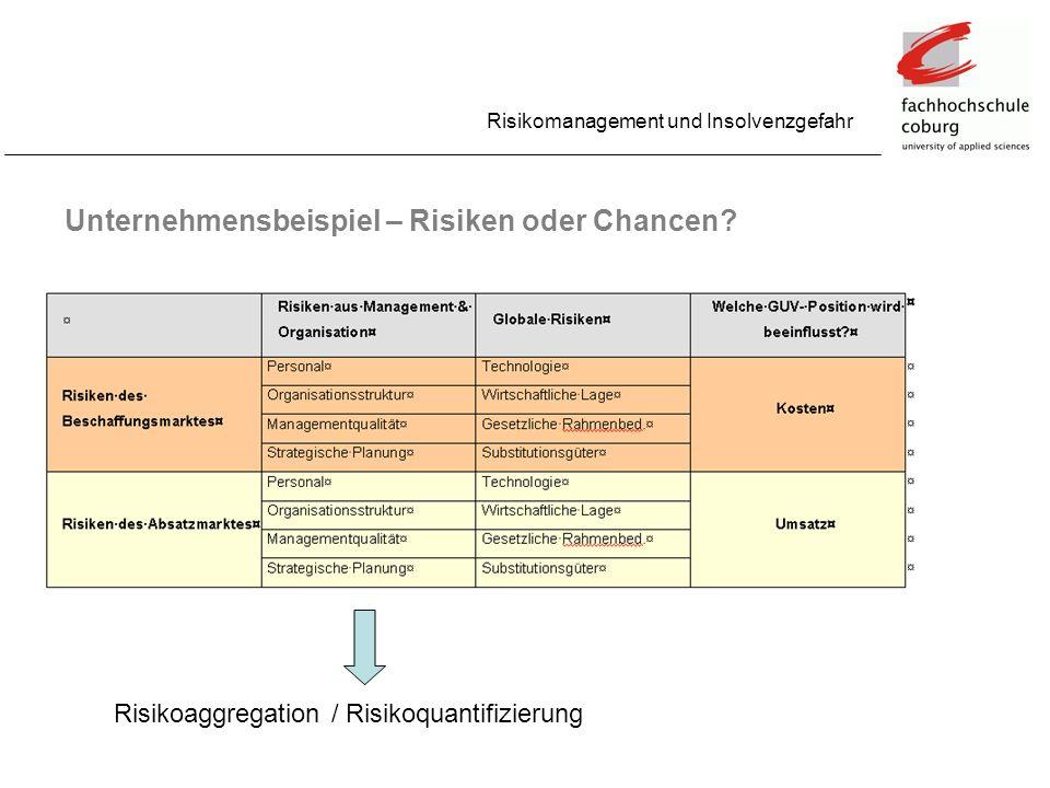 Unternehmensbeispiel – Risiken oder Chancen? Risikomanagement und Insolvenzgefahr Risikoaggregation / Risikoquantifizierung