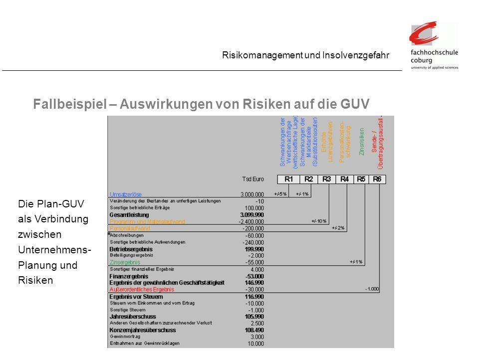 Fallbeispiel – Auswirkungen von Risiken auf die GUV Risikomanagement und Insolvenzgefahr Die Plan-GUV als Verbindung zwischen Unternehmens- Planung un