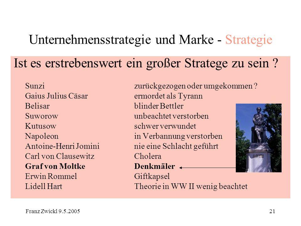 Franz Zwickl 9.5.200521 Unternehmensstrategie und Marke - Strategie Ist es erstrebenswert ein großer Stratege zu sein ? Sunzi zurückgezogen oder umgek